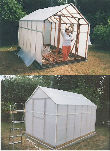 Wood gable greenhouse with Solexx Panels.