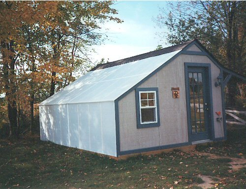 Dual purpose shed and greenhouse space covered in Solexx.