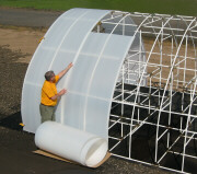 Solexx is easy to apply to your greenhouse frame. Just slide it over the frame and attach. Minimal seams!